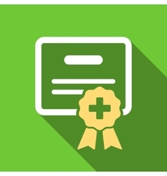 Medical Certification Flat Long Shadow Square Icon vector