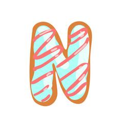 N letter in shape sweet glazed cookie vector