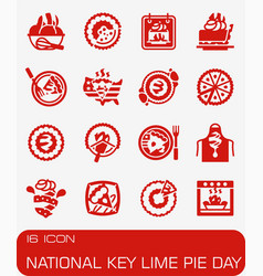 National key lime pie day icon set vector