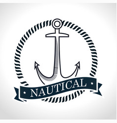 Nautical frame with anchor vector
