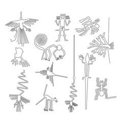 Nazca lines creatures from nazca desert in peru vector