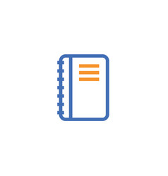 notebook outline icon isolated document paper vector image