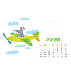 october calendar page with cute rat in travel vector image