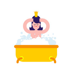 princess in bath isolated sweet girl with crown vector image