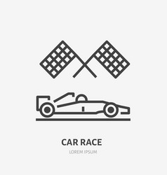 racing car with checkered flags flat line icon vector image