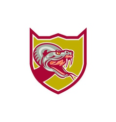 Rattle snake head shield retro vector