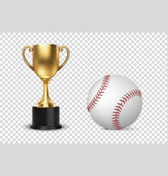 realistic 3d golden champion cup icon wirh vector image