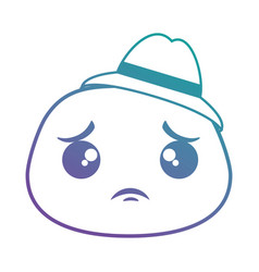 Sad emoji face with hat vector