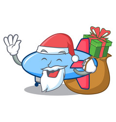 Santa with gift zeppelin mascot cartoon style vector