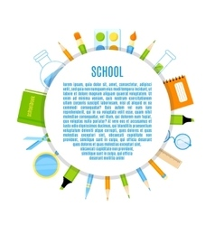 School baner with supplies design vector image