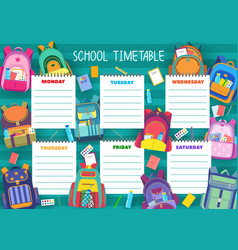 school timetable schedule education template vector image