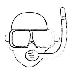 Scuba diver with a dive mask and snorkel vector