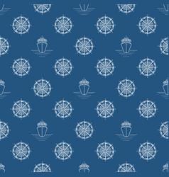 seamless blue maritime pattern vector image