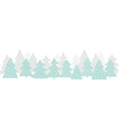 Seamless long banner with christmas trees forest vector