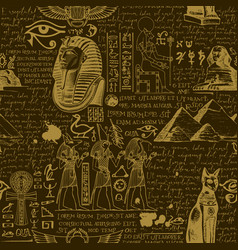 Seamless pattern on ancient egypt theme vector