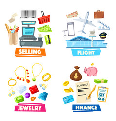selling jewelry finance and flight items vector image