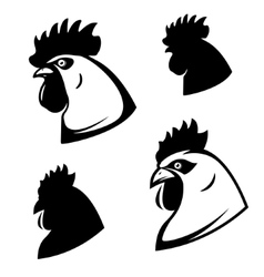 set chicken heads rooster head design vector image