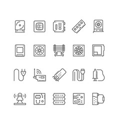 Set line icons computer components vector