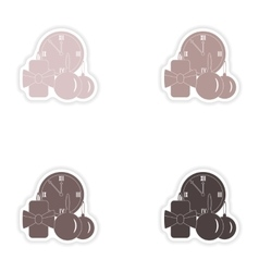 Set of paper stickers on white background watch vector