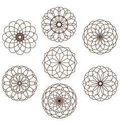 seven ornamental circular shapes on a white backgr vector image