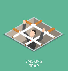 Smoking trap flat isometric concept vector