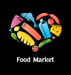 stylish food market poster vector image