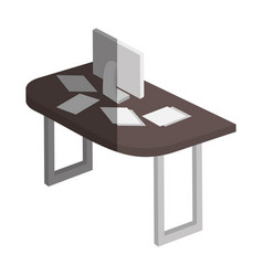 Table wooden with computer isometric icon vector