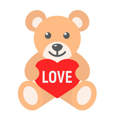 Teddy bear with heart flat icon valentines day vector