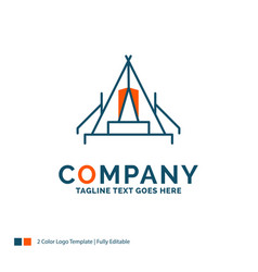 Tent camping camp campsite outdoor logo design vector