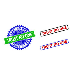 Trust no one rosette and rectangle bicolor badges vector