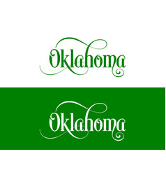 typography of the usa oklahoma states handwritten vector image