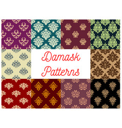 victorian floral damask seamless pattern set vector image
