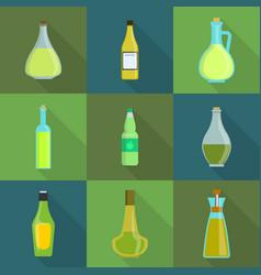 Vinegar bottle icons set flat style vector