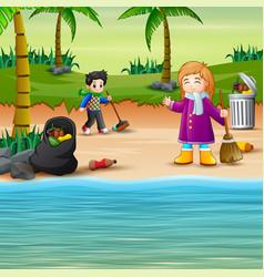Volunteer kids cleaning beach vector