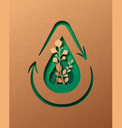 water recycle green paper cut waste cycle concept vector image