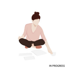 woman working with papers isometric woman career vector image