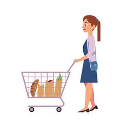 young girl with food goods in supermarket storage vector image