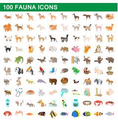 100 fauna icons set cartoon style vector image