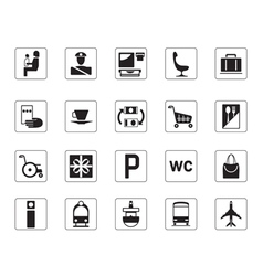 Airport bus station and railway station icons set vector image vector image