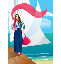Beautiful woman on pier portrait frame with yacht vector