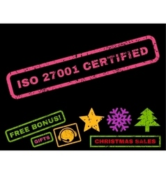 Iso 27001 certified rubber stamp vector