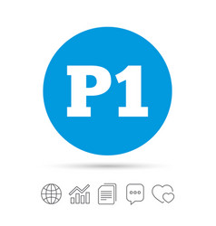 parking first floor icon car parking p1 symbol vector image vector image