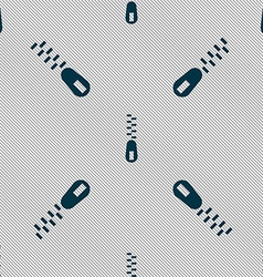 Zipper icon sign seamless pattern with geometric vector