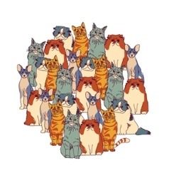 Group cats isolate on white vector