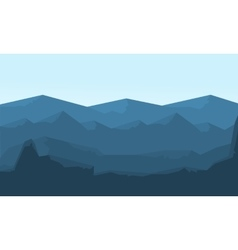 Hills landscape flat of silhouette vector image