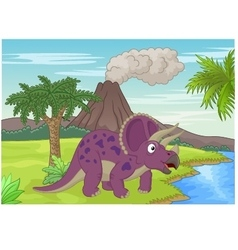 Prehistoric scene with triceratops cartoon vector image vector image