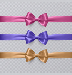set of realistic pink purple and orange vector image vector image