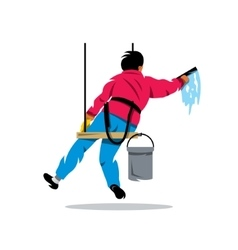Window washer Cleaning service Cartoon vector image vector image