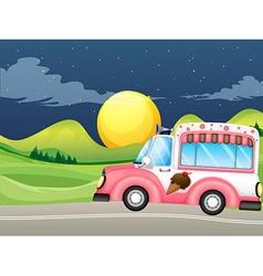 A pink icecream bus vector image