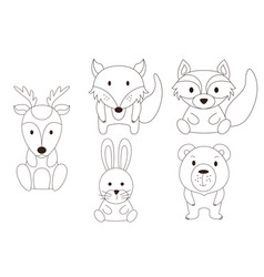 coloring page with animal wild deer and raccoon vector image
